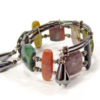 Fancy Jasper and Haematite Asymmetrical Wrap Cuff Bracelet – A Bold Statement!