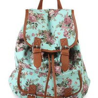 drawstring backpack in floral print  - debshops.com