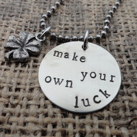 Make Your Own Luck - 4 Leaf Clover Charm Ball Chain Necklace