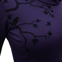 NEW Womens Merino &#x27;Vapour&#x27; Purple/Black Tui Tree Print  by morphic