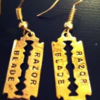 RAZOR BLADE Gold Color Earrings | eBay