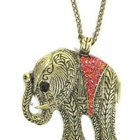 Amazon.com: Elephant Necklace Ruby Red Crystal Animal Ethnic Tribal Vintage Charm Pendant: Jewelry