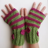 Green-Pink  Warm Fingerless Gloves - Wrist Warmers-Ready For Shipping