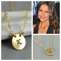 Initial Necklace, Monogram Necklace, Celebrity Initial Necklace, Katy Holmes Initial Necklace, Initial Jewelry, Birthday Gift, Gift For Her