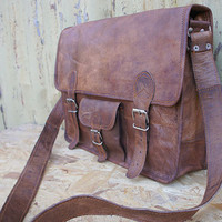 Mens leather satchel messenger bag