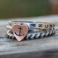 You Are My Anchor  - Stacking Ring Set of 3 - Personalized Hand Stamped - Recycled Sterling Silver and a Copper Heart- Made in Your Size