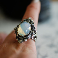 Vampiress ring - VIctorian Goth Vintage Swarovski Cameo - SOLDERED - Made in USA stamping