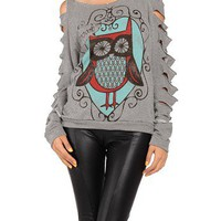 Cut Up Owl Sweater - 2020AVE