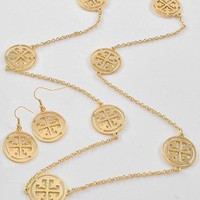 Gold Tone Long Necklace and Earring Set Tory Burch Designer Inspired FREE SHIP