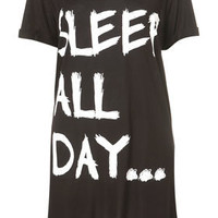 &#x27;Sleep All Day&#x27; Oversized Tee - Nightwear - Lingerie &amp; Nightwear  - Clothing