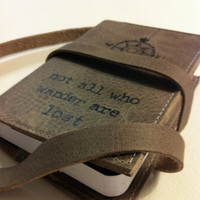 small leather journal sketchbook handprinted custom for you not all who wander are lost