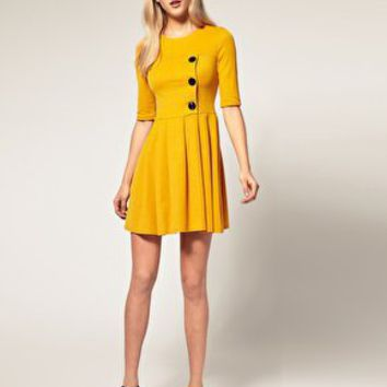 ASOS | ASOS Pleated Skirt Dress with big Button Detail at ASOS