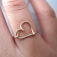 Gold Heart Ring - 14K Gold Filled Wire