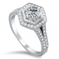 Engagement Ring - Hexagon Halo Diamond Engagement ring in 14K White Gold - ES1080BRWG