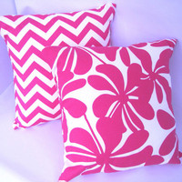"Candy Pink Chevron and Twirly Pillow Covers Baby Nursery Girls Bedroom Decor 18"" x 18"" set of 2"
