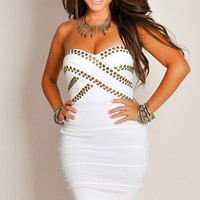 Sexy Ivory Bronze-Studded Bandage Mini Tube Dress
