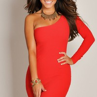 Sexy Solid Red One-Sleeve Elasticized Curve-Defining Dress