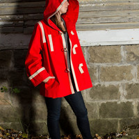 Red Canvas Coat 1970s Medium Trench Rain Coat