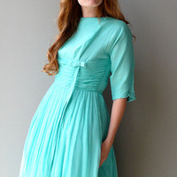 1950s Aqua Chiffon Dancing Dress by coralvintage on Etsy