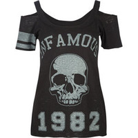 INFAMOUS Skull Cold Shoulder Womens Top 181383100 | tees | Tillys.com