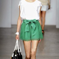 Solid Color Chiffon Belted High Waist Skirt Shorts