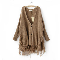 Bat Wing Dolmen Sleeves Fringe Hem Loose Style Fashion Cardigan Sweater
