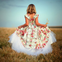 Formal Little Girls Dress In Ruffles for Flower by vintageprecious