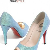 Wholesale Fashion Shining Skin Fish Mouth High Heels Blue