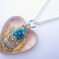 Owl Filigree Blue Rose Heart Resin Necklace