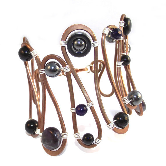 Gemstone Copper & Sterling Silver Bracelet by SunflowerStudiosUK