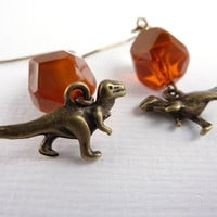 Dinosaur Earrings, Drop Earrings, Dangle Earrings, Beaded