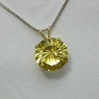 Genuine Sunflower Lemon Quartz Jewelry Pendant Necklace, Specialty Cut