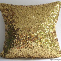 Starry Night. Luxury Glamour. Gold Sequins Embellished Pillow Cover. Christmas Gift