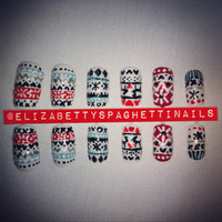 Hand-painted Fair Isle Christmas Jumper Nail Art Set