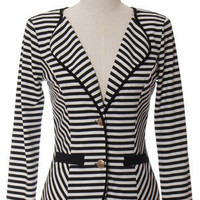 Trendy & Cute Clothing - Urban1972 - Striped Blazer - chloelovescharlie.com | $42.00