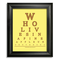 Spongebob Squarepants, Who Lives In A Pineapple Under The Sea Eye Chart, 8 x 10 Giclee Print BUY 2 GET 1 FREE