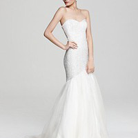 Theia Sequin Mermaid Gown with Organza Skirt