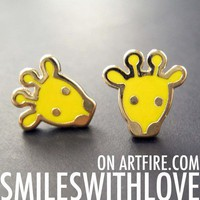 SALE Small Yellow Baby Giraffe Animal Stud Earrings in Yellow on Gold from Dotoly Love