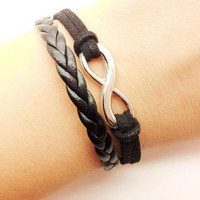 silvery infinity wish black soft leather women leather ropes bracelet R003
