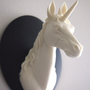 Ivory and Black Mounted Unicorn Head Wall Hanging