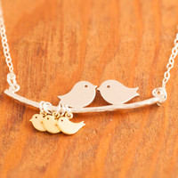 Love Birds Necklace - triplets necklace, sterling silver, baby bird necklace, baby shower jewelry, mom necklace