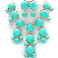Teal Bubble j crew inspired bib statement necklace couture