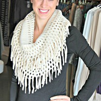 Infinity Scarf with Fringe- Cream