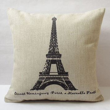 1 cotton linen Pairs Eiffel Tower  stamp words pattern Retro style decorative pillow cover / cushion case 18""