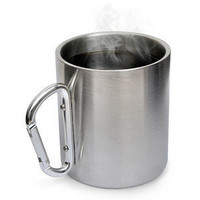ThinkGeek :: Stainless Steel Carabiner Mug