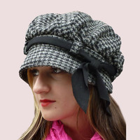 Classic Newsgirl Cap With Bow Trim Grey Check by ArishaHatters