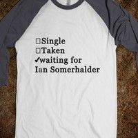 Waiting for Ian Somerhalder.-Unisex White/Asphalt T-Shirt