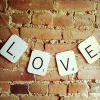 SCRABBLE LOVE Wedding Banner Engagement by PurplePeonyCouture