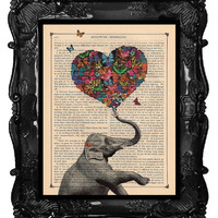 ELEPHANT Print A Heart full of Butterflies original art vintage dictionary page antique book page print