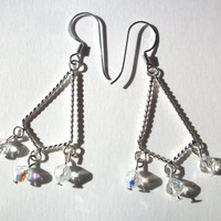 Chandelier earrings, Swarovski clear crystal AB hypoallergenic .999 silver filled dangle earrings